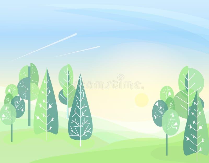 Abstracte vlakke achtergrond van het de zomer de bosbeeldverhaal Eenvoudig de tekening van Kinderen Eenvoudig en leuk landschap v stock illustratie