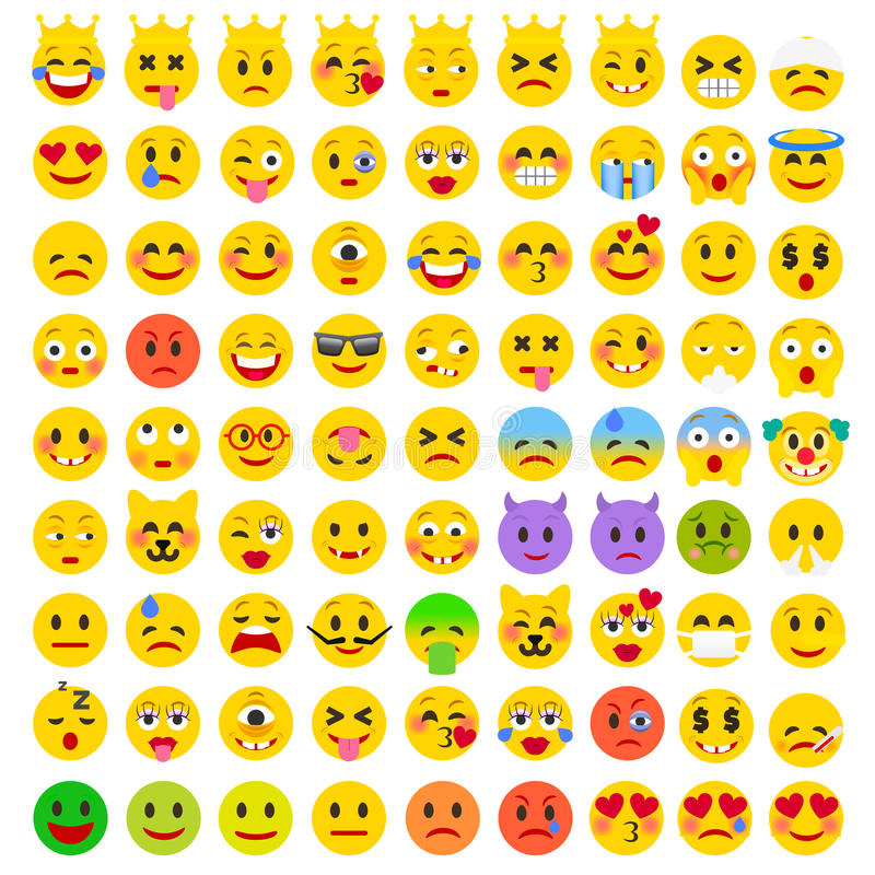 Abstracte Vlakke Grappige Reeks van Emoticons Reeks van Emoji royalty-vrije illustratie