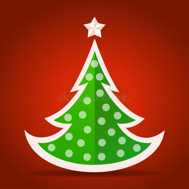 Abstracte vlakke groene Kerstboom vector illustratie