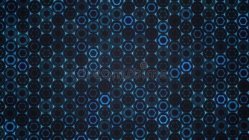 Abstracte vlakke hexagon technologieachtergrond stock fotografie