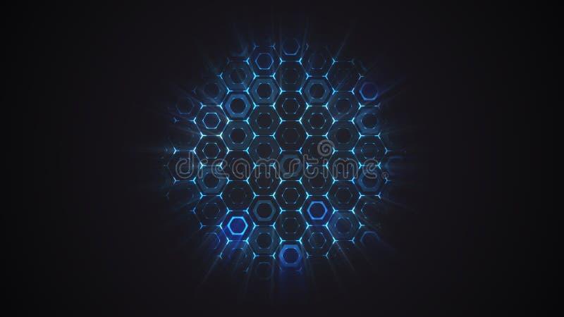 Abstracte vlakke hexagon technologieachtergrond royalty-vrije stock afbeelding