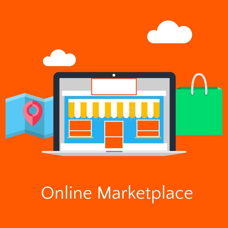 Abstracte vlakke vectorillustratie van online marktconcept stock illustratie
