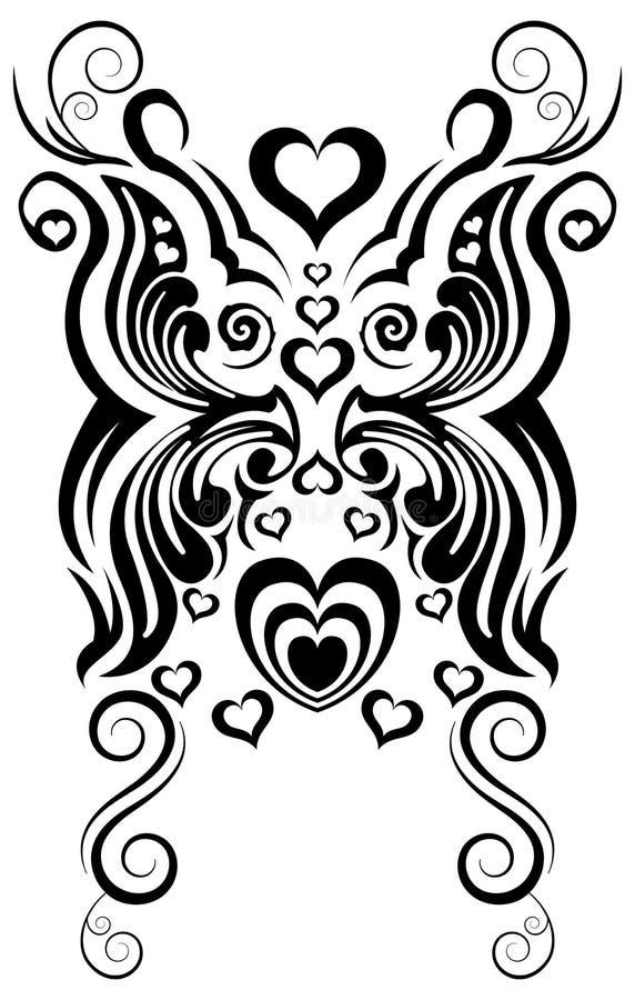 Abstracte vlinder en hart stammentatoegering stock illustratie