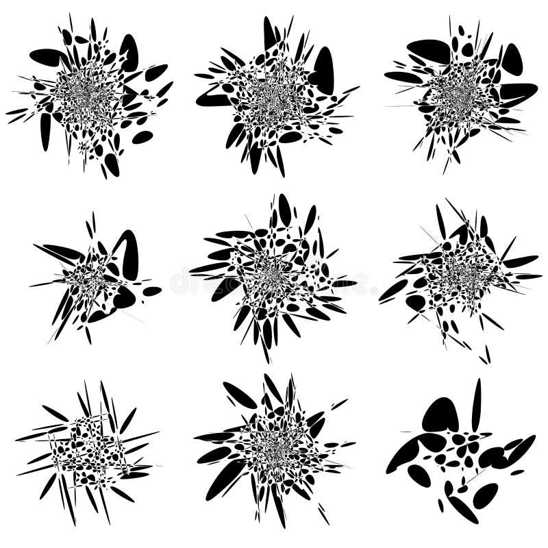 Abstracte vloeibaar-als vormreeks Ploeter, bespat elementen willekeurig stock illustratie