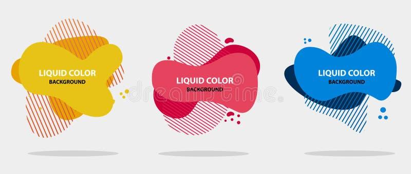 Abstracte vloeibare vorm Moderne abstracte bannerreeks Vlakke geometrische vloeibare vorm met diverse kleuren Modern bannermalpla royalty-vrije illustratie