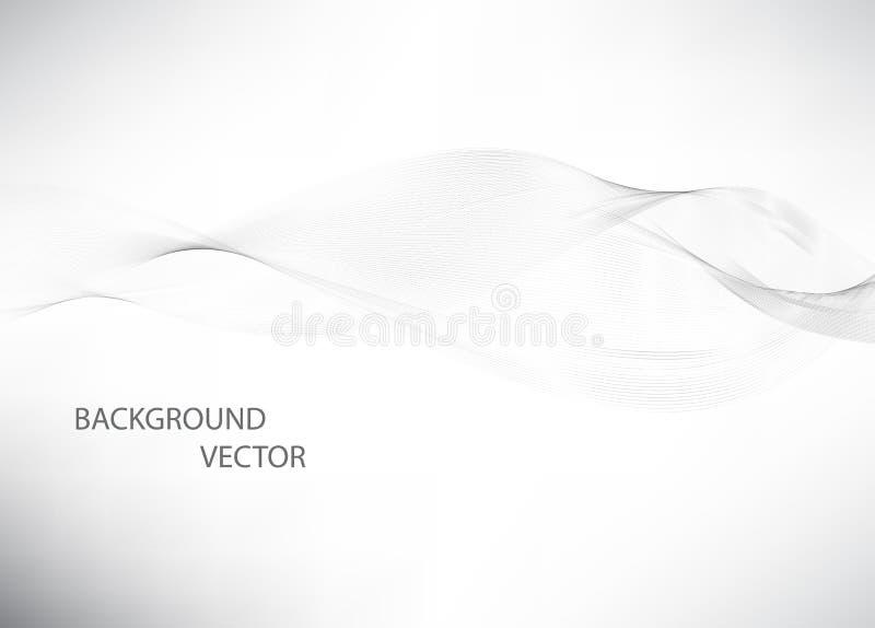 Abstracte vlotte grijze golfvector Grijze de motieillustratie van de krommestroom Grijze rook Bedrijfsgolfachtergrond stock illustratie