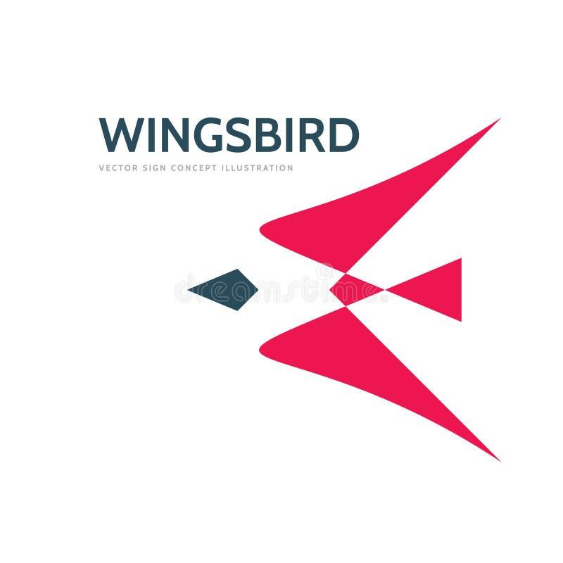 Abstracte vogel - vector het conceptenillustratie van het embleemmalplaatje Rood vleugels creatief teken De motiesymbool van de l stock illustratie
