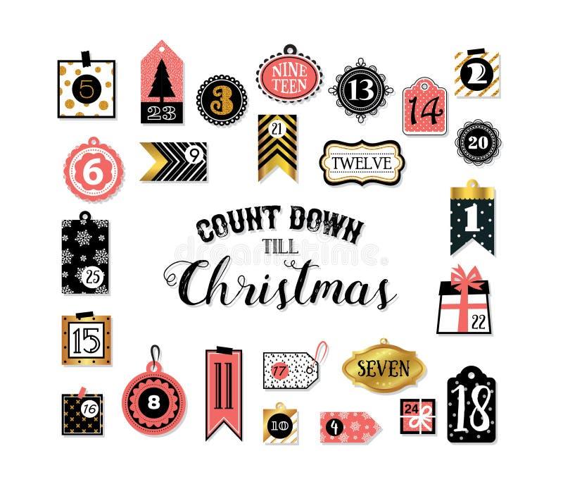 Abstracte voor het drukken geschikte markeringeninzameling voor Kerstmis, Nieuwjaar De Kalender van de komst De Tijd van Kerstmis vector illustratie