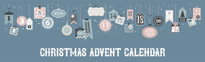 Abstracte voor het drukken geschikte markeringeninzameling voor Kerstmis, Nieuwjaar De Kalender van de komst De Tijd van Kerstmis stock illustratie