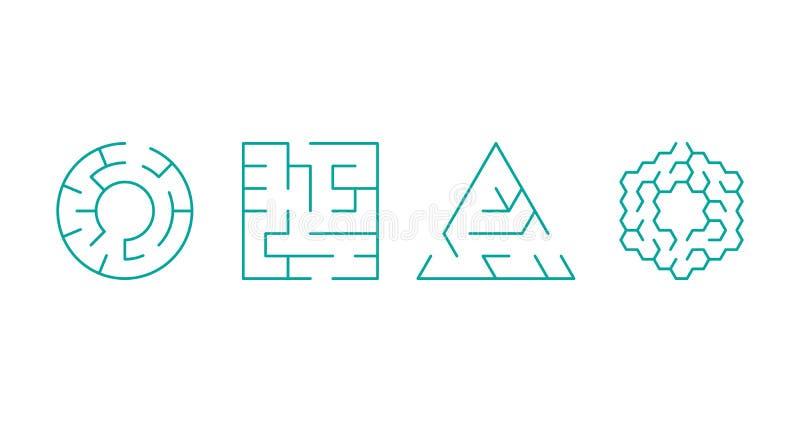 abstracte vormen van vierkant, cirkel, driehoek, hexagon labyrint Vector illustratie die op witte achtergrond wordt ge?soleerdd vector illustratie