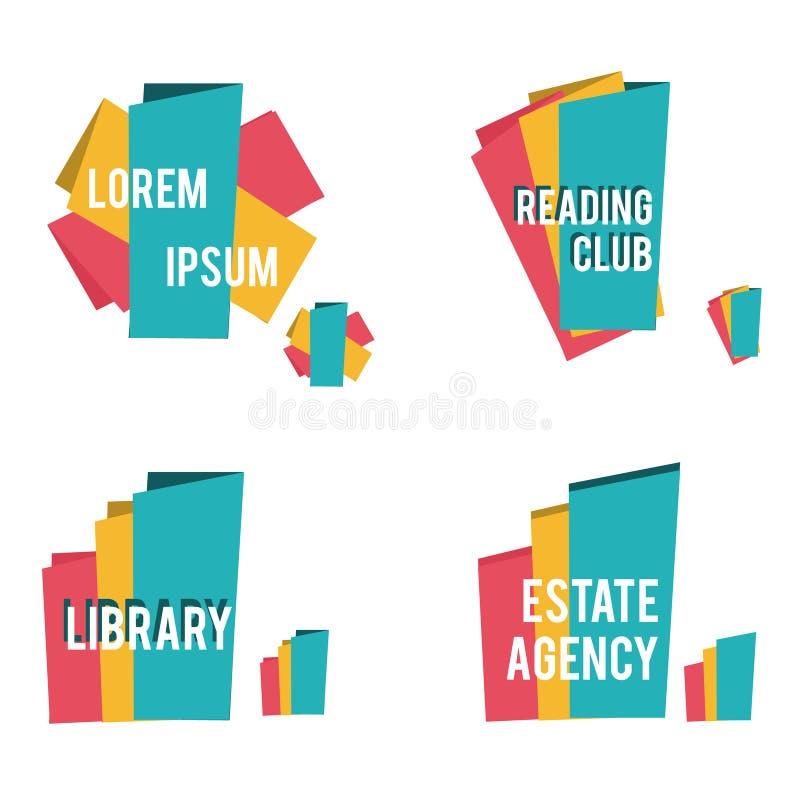 Abstracte vormen voor bibliotheek, die onroerende goederen clubs lezen, en andere bedrijfspictogrammen royalty-vrije illustratie