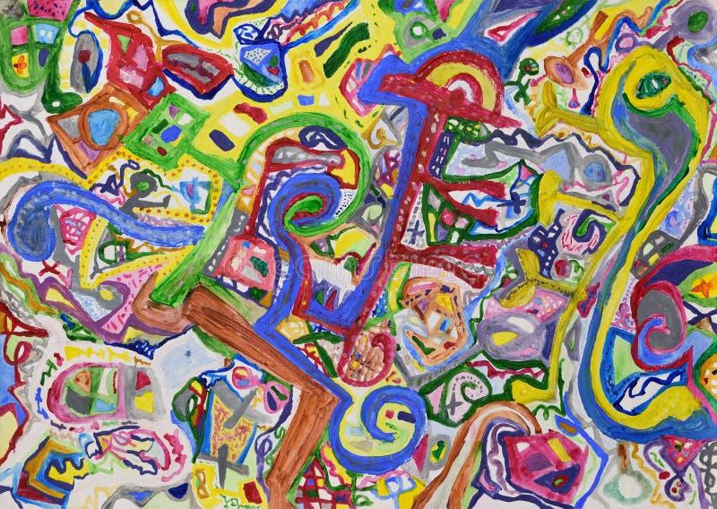 Abstracte vreemde kleurrijke hand geschilderde achtergrond stock afbeeldingen