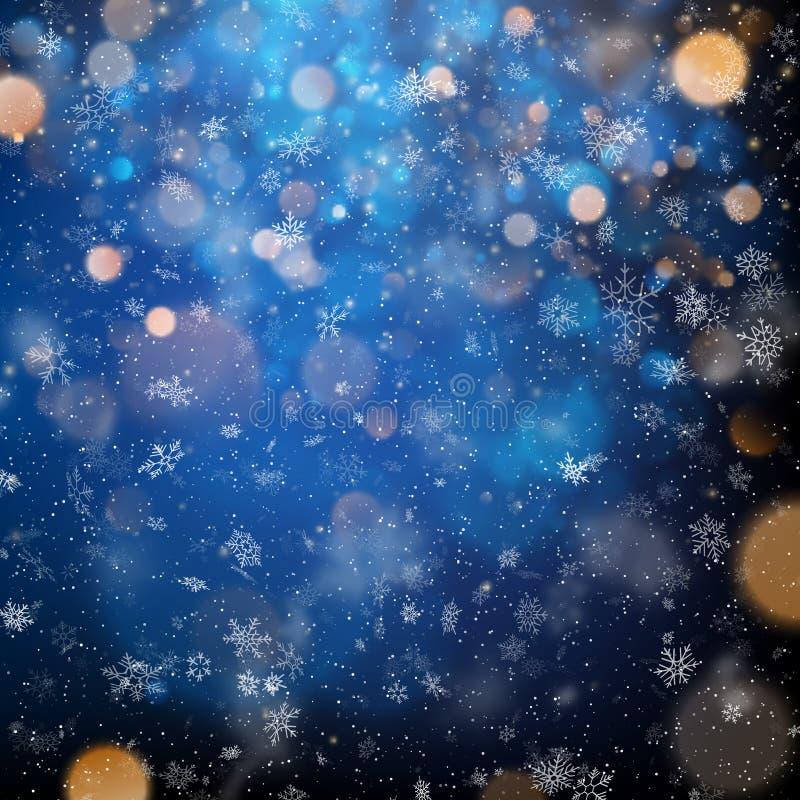 Abstracte Vrolijke Kerstmis vage sneeuwvlokken en bokeh licht malplaatje Eps 10 stock illustratie