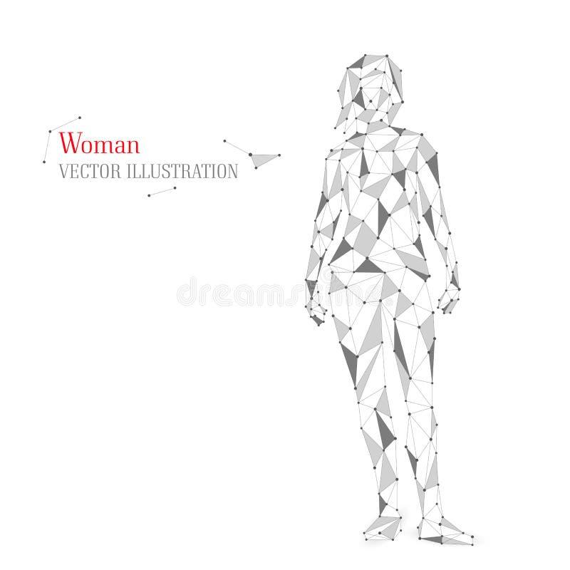 Abstracte vrouw, menselijk lichaam uit driehoeken royalty-vrije stock afbeelding