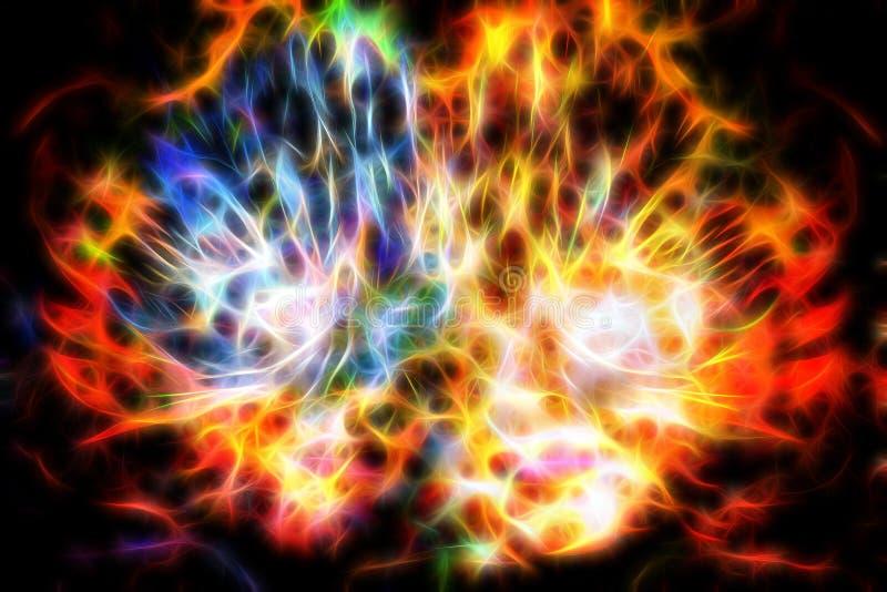 Abstracte vrouw met veermasker Godinvrouw in Kosmische ruimte fractal effect stock illustratie