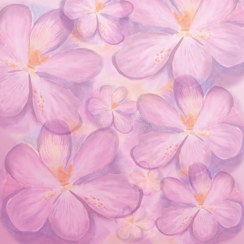 Abstracte waterverf backgroung met krokusbloemen Hand getrokken bloemen stock foto