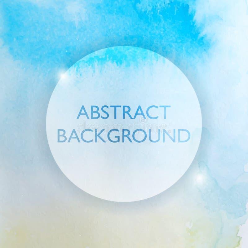 Abstracte Waterverf Blauwe en Gele Achtergrond royalty-vrije illustratie
