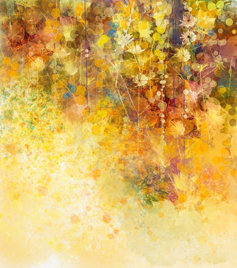 Abstracte Waterverf die witte bloemen en zachte kleurenbladeren schilderen