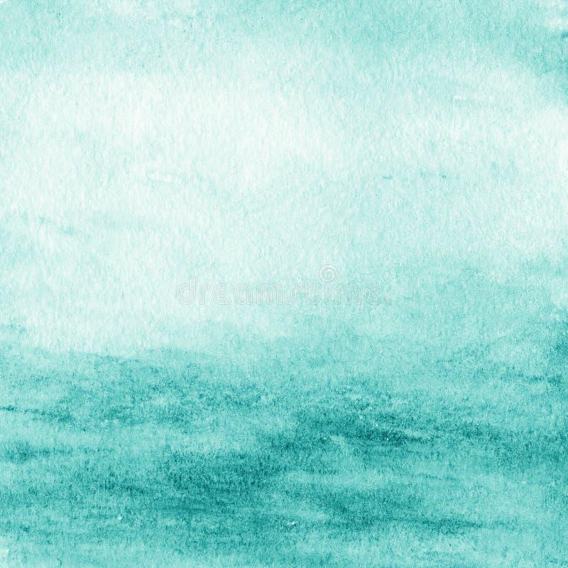 Abstracte waterverfachtergrond Blauwgroene Waterkleur zoals overzees vector illustratie