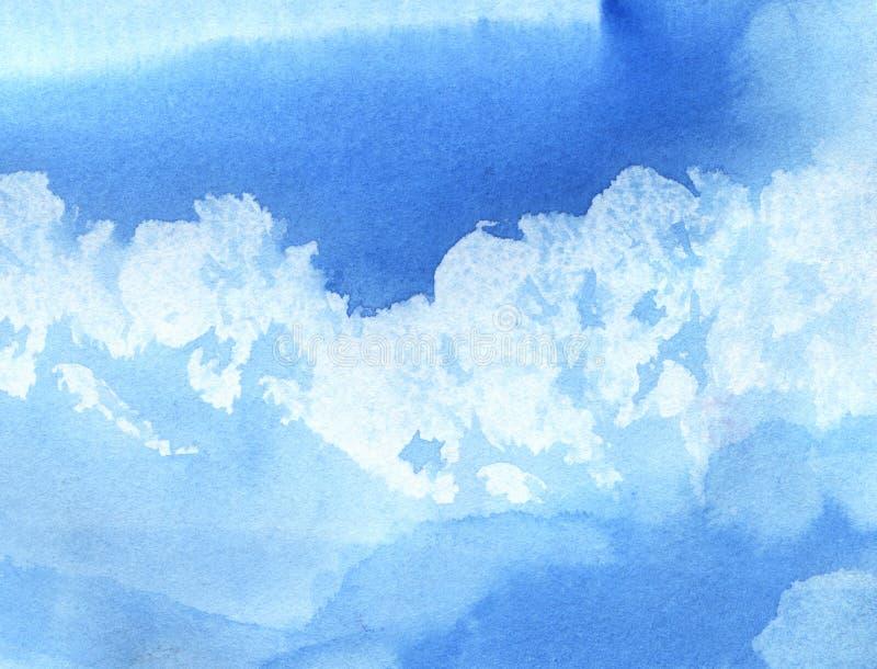 Abstracte waterverfachtergrond Cumuluswolken in de blauwe hemel op een zonnige dag Hand-drawn waterverfillustratie stock illustratie