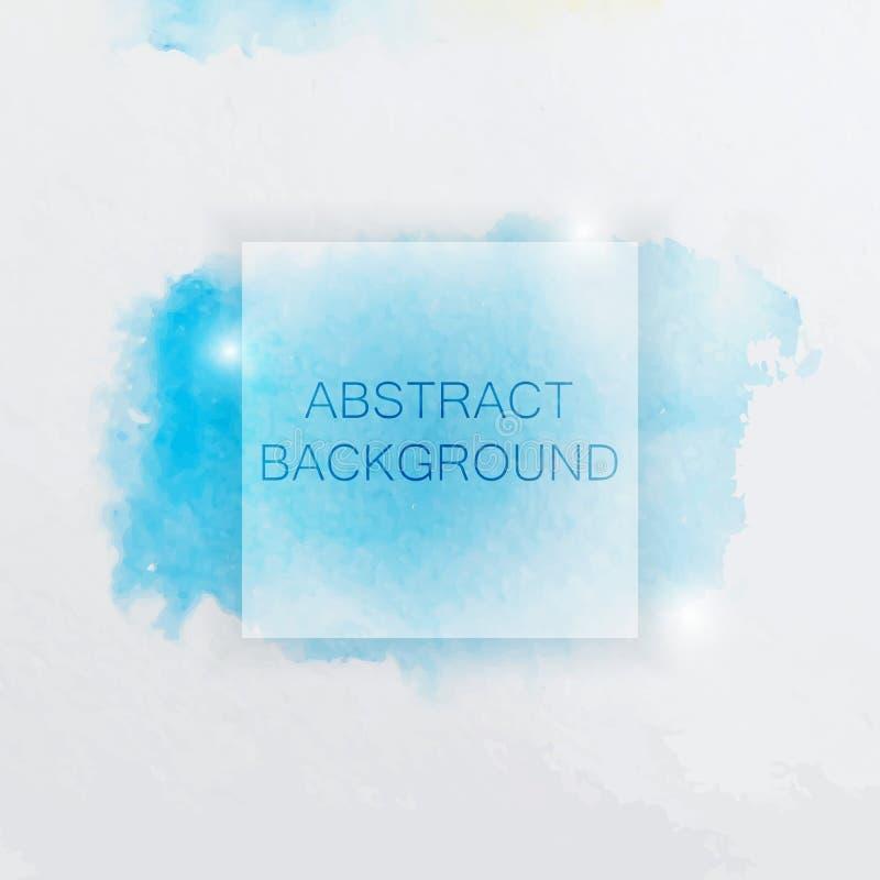 Abstracte Waterverfachtergrond met Blauw Plons en Vierkant vector illustratie