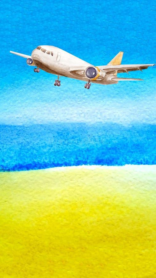 Abstracte Waterverfachtergrond met exemplaarruimte De zomerhemel, oceaanzeewater en kustzand Een vliegtuig gaat van start Concept stock foto