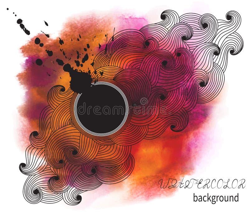 Abstracte waterverfachtergrond met vlek en lege ruimte voor te royalty-vrije illustratie