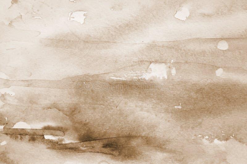 Abstracte waterverfachtergrond op document textuur In gestemd sepia stock foto's