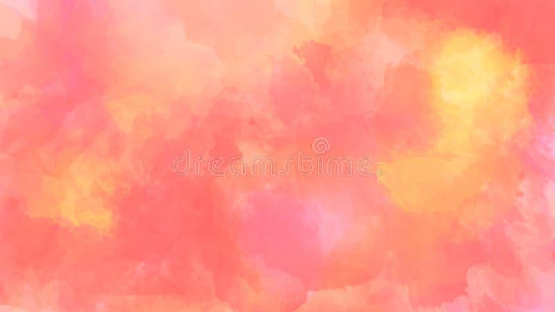 Abstracte waterverfachtergrond in rode en gele kleur de illustratie van de borstelslag royalty-vrije stock afbeelding
