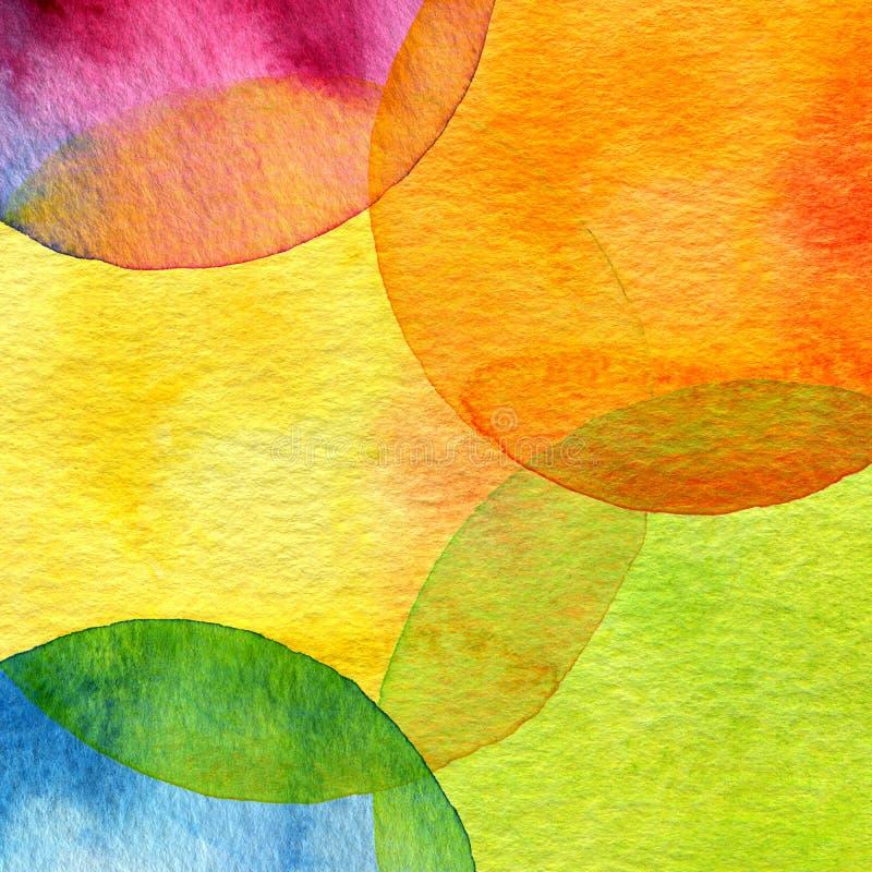 Abstracte waterverfcirkel geschilderde achtergrond stock foto