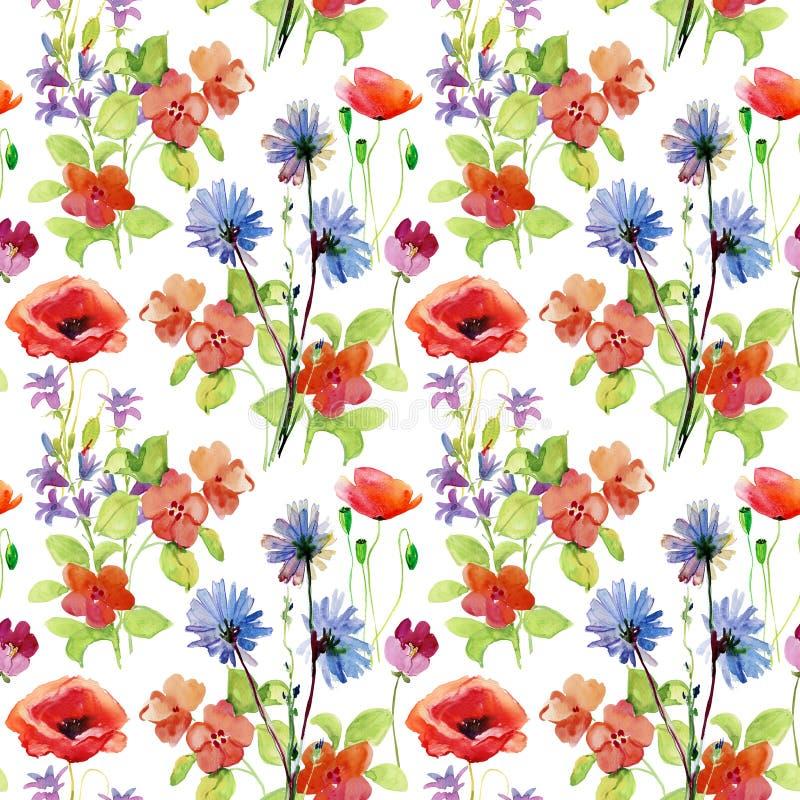 Abstracte waterverfhand geschilderde achtergrond met bloemen vector illustratie