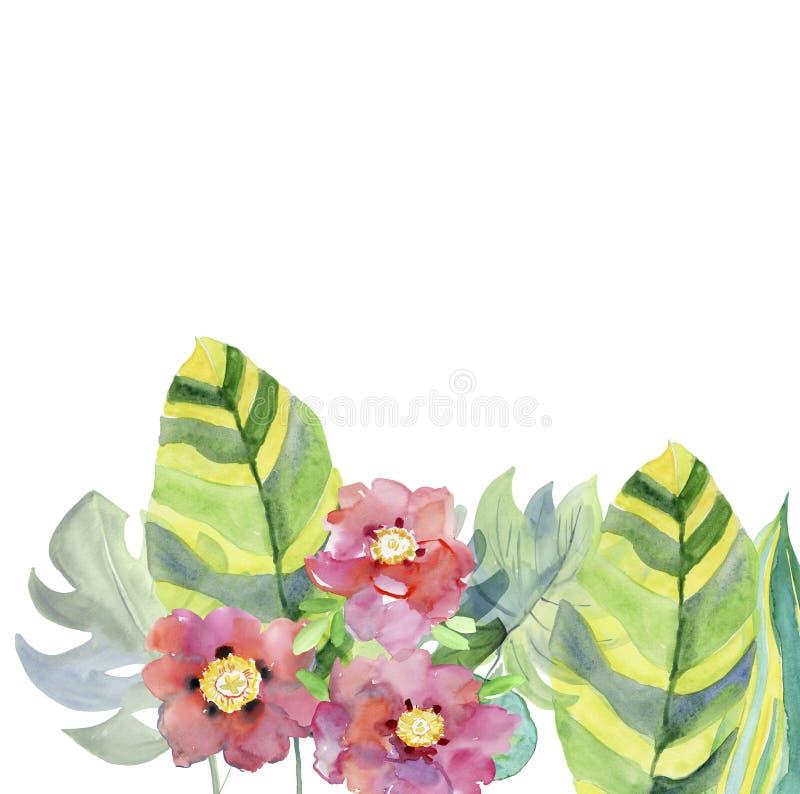 Abstracte waterverfhand geschilderde kaart met bladeren en bloemen stock illustratie