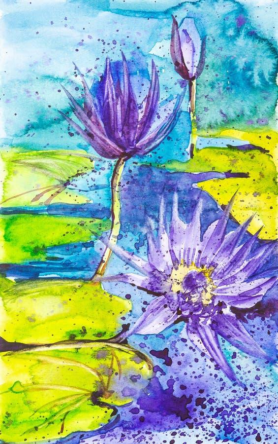 Abstracte waterverfillustratie van purpere waterlelies op de oppervlakte van het meer royalty-vrije illustratie