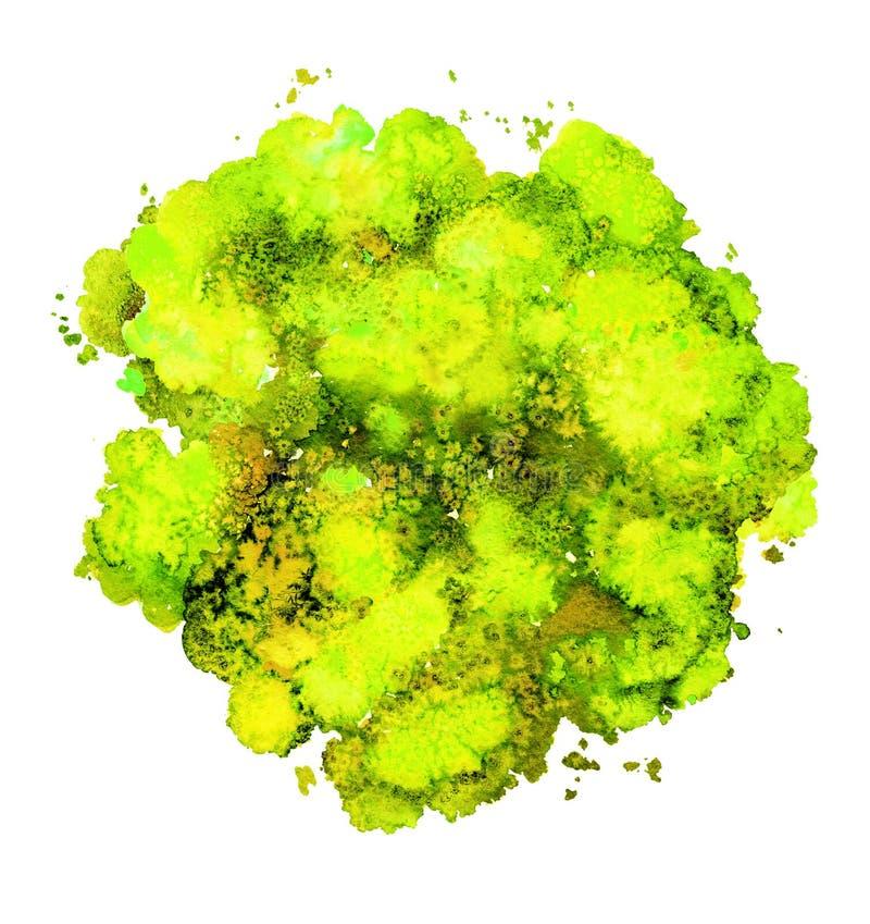 Abstracte waterverftextuur, bionische vorm, dynamische geel en groene kleur Grote grootte Voor de achtergrond Ge?soleerd op wit royalty-vrije illustratie