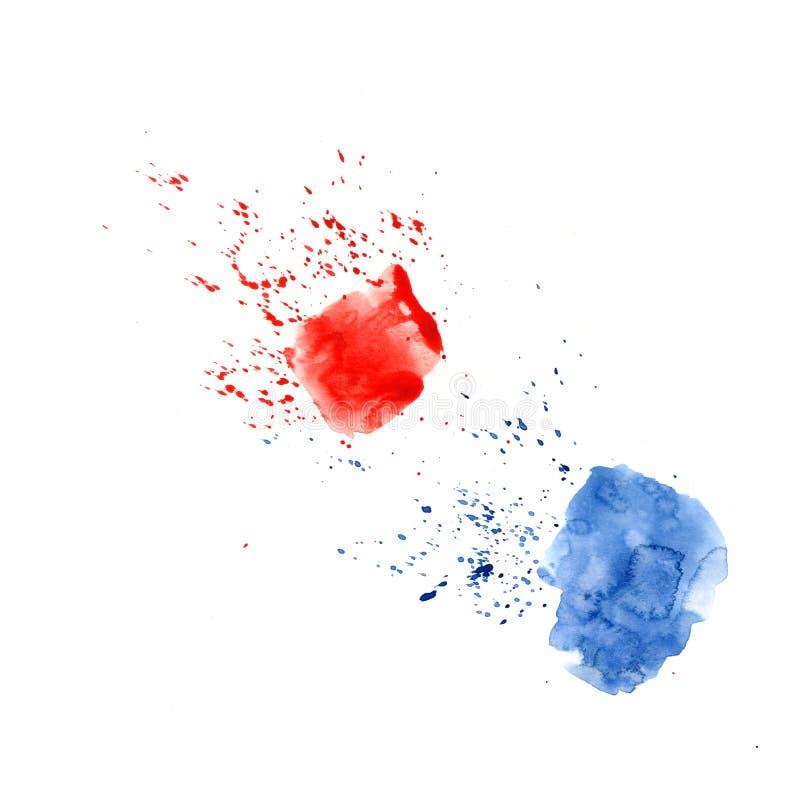 Abstracte waterverfvlek met druppeltjes, smudges, vlekken, plonsen Twee Heldere rode en blauwe kleurenvlek in grungestijl royalty-vrije stock foto's