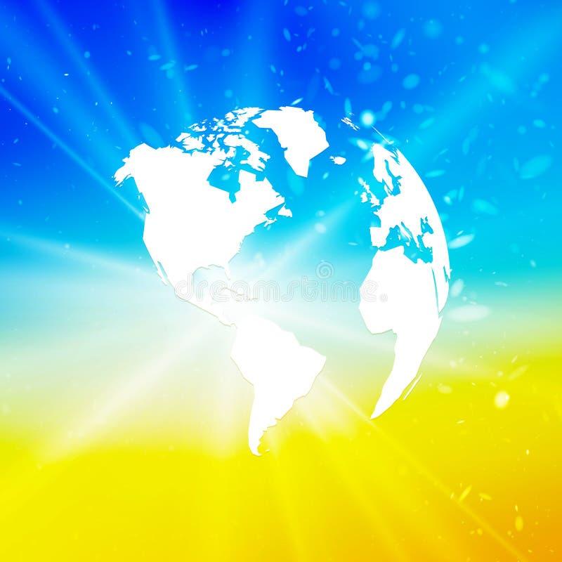 Abstracte wereldbol, aarde met starburst op blauwe geel vector illustratie