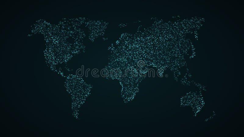 Abstracte wereldkaart Blauwe kaart van de aarde van de vierkante punten Donkere achtergrond Blauwe gloed High-tech Technologie sc royalty-vrije illustratie