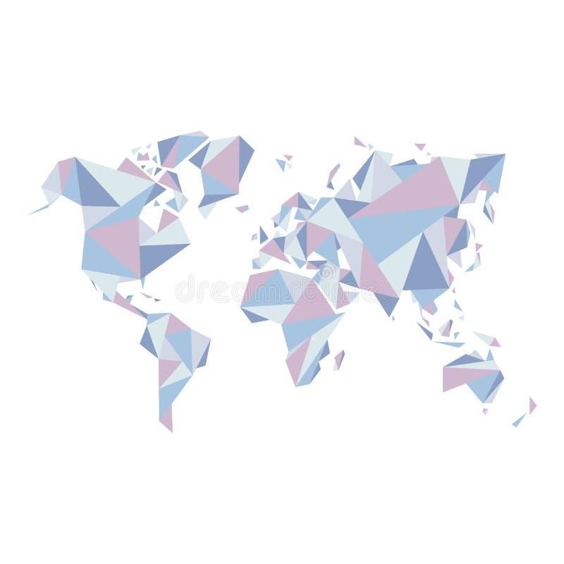 Abstracte wereldkaart - illustratie - geometrische structuur binnen voor presentatie, boekje, website en andere ontwerpprojecten stock illustratie