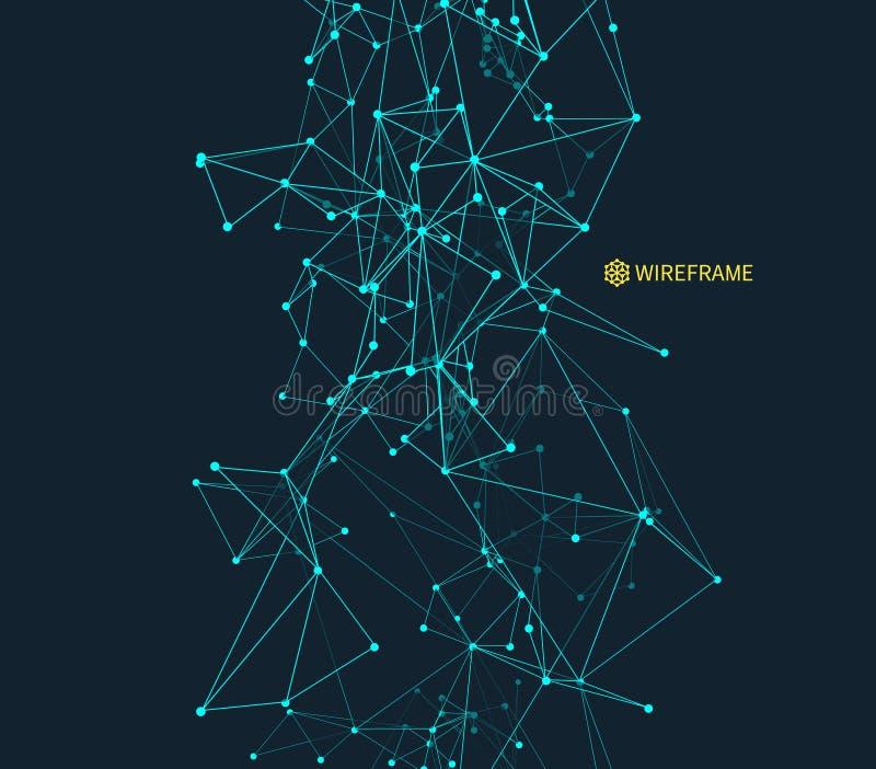 Abstracte wetenschap of technologieachtergrond Grafisch Ontwerp Netwerkillustratie met deeltje 3D Netoppervlakte stock illustratie