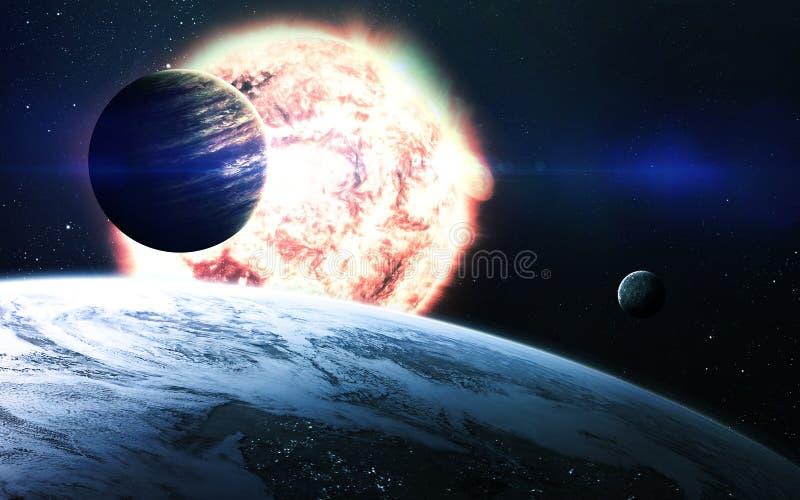 Abstracte wetenschappelijke achtergrond - planeten in ruimte, nevel en sterren Elementen van dit die beeld door NASA-NASA wordt g stock fotografie