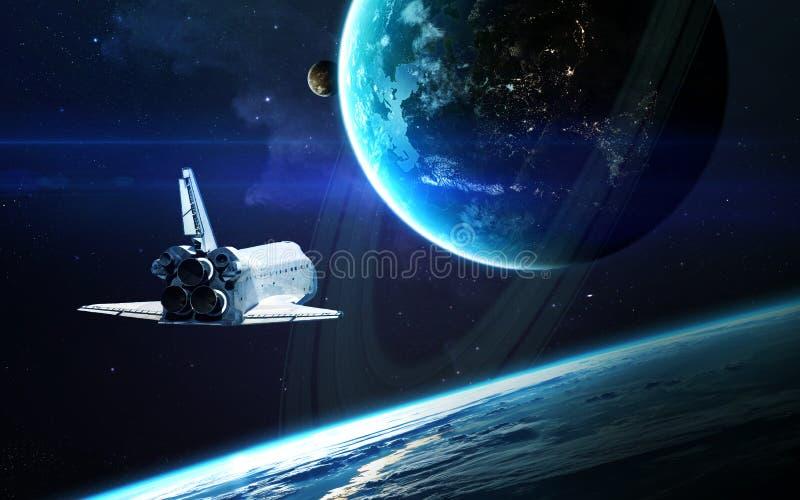 Abstracte wetenschappelijke achtergrond - planeten in ruimte, nevel en sterren Elementen van dit die beeld door NASA-NASA wordt g stock foto
