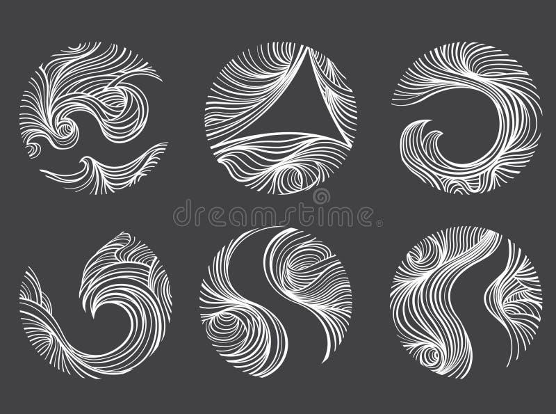 Abstracte Windlijn om het pictogramreeks van het vormembleem stock illustratie