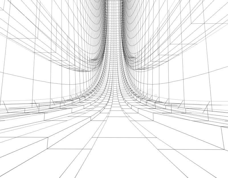 Abstracte wireframebouw royalty-vrije illustratie