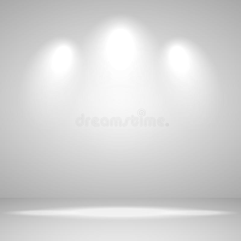 Abstracte witte achtergrond lege ruimtestudio voor tentoonstelling en binnenland met vlek lichte, vectorillustratie vector illustratie