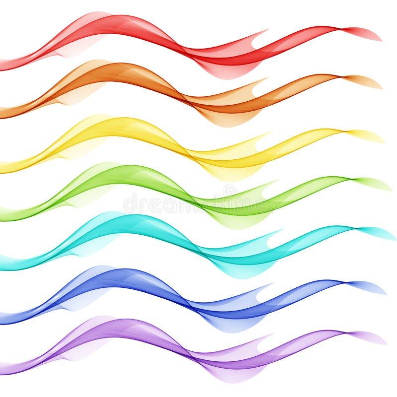 Abstracte witte achtergrond met kleurrijke lijnen in de vorm van golven stock illustratie