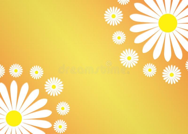 Abstracte Witte Daisy Flowers op Gradated en Geweven Gele Achtergrond vector illustratie