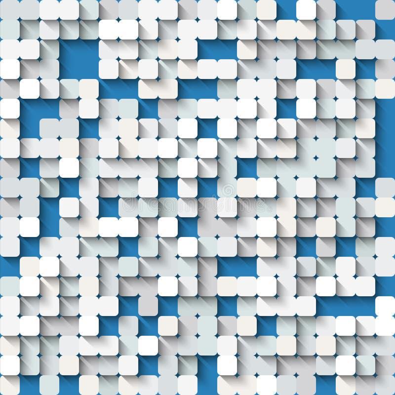 Abstracte witte en blauwe achtergrond met mozaïek stock illustratie