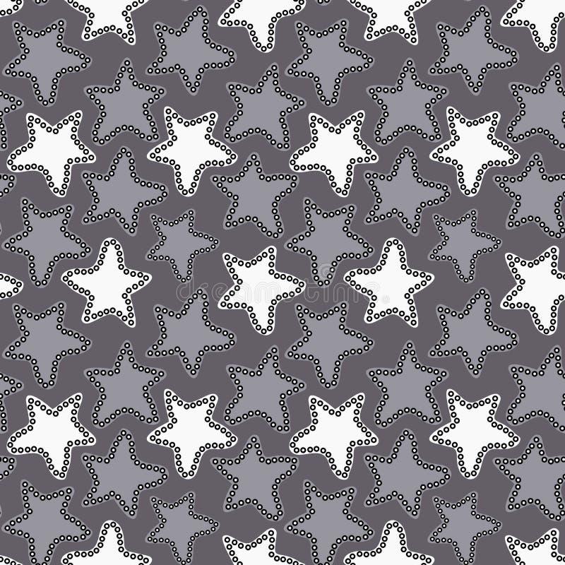 Abstracte witte en grijze sterren op donkergrijze achtergrond vector illustratie