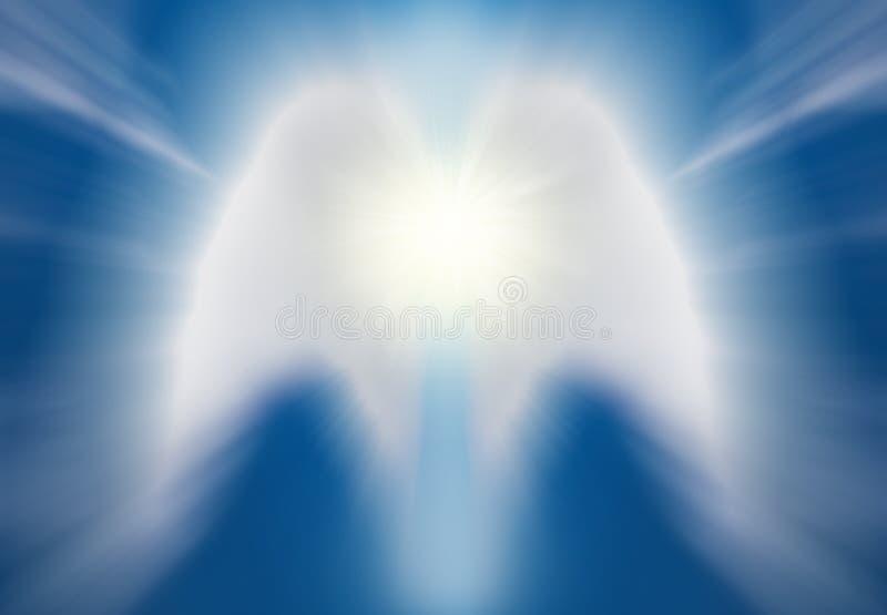 Abstracte witte engel op blauwe achtergrond stock illustratie