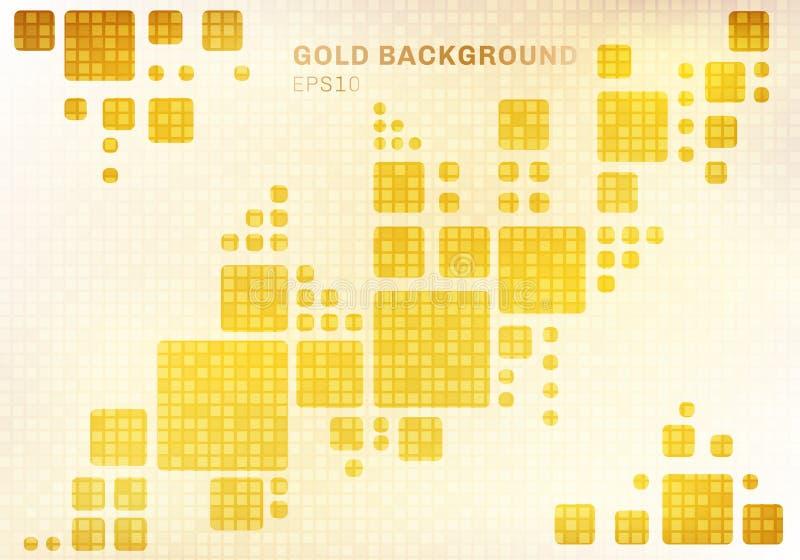 Abstracte witte geometrisch op de de glanzende gouden vierkante achtergrond van het mozaïekpatroon en stijl van de textuurluxe royalty-vrije illustratie
